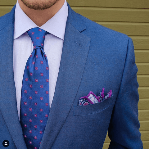 adf017769e599 Blue Foulard Silk Tie & Purple Linen Pocket Square