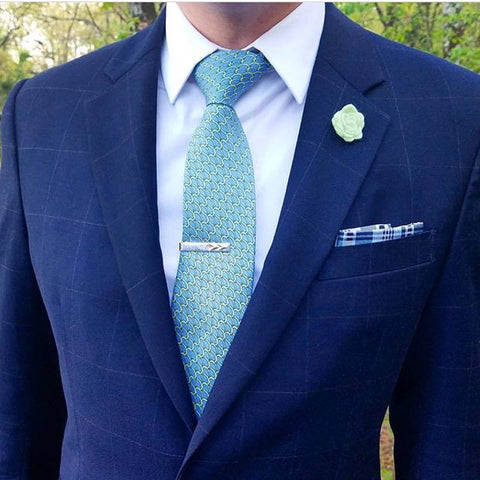 Green w/ Blue Printed Silk Tie