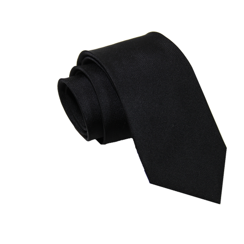 Solid Black Silk Tie