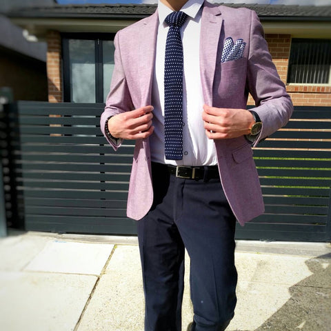 Preppy Look with Knitted Tie and Linen Pocket Square