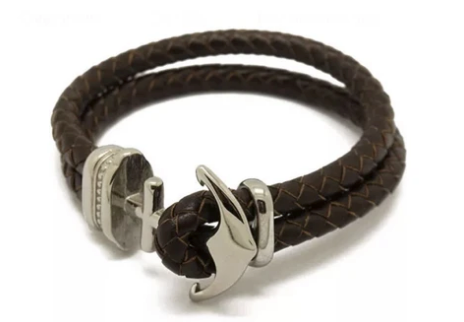 Hold Fast Antique Steel Anchor and Leather Bracelet