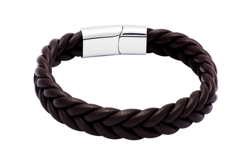 Santa Ana Brown Leather Stainless Steel Bracelet