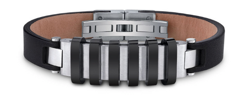 Men's Leather Raised Stripe Accented Bracelet in Stainless Steel