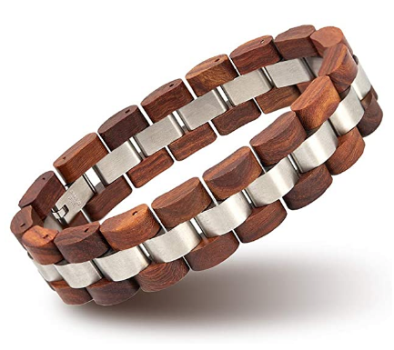 Men's Wood and Stainless Steel Bracelet