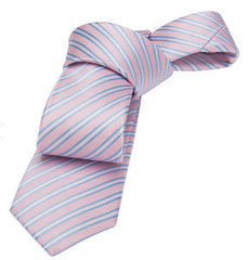 Pink Striped Skinny Silk Tie Seaside Wedding