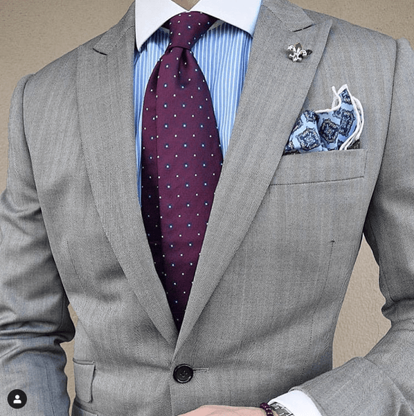 Purple Silk Tie Light Blue Shirt Analagous Look