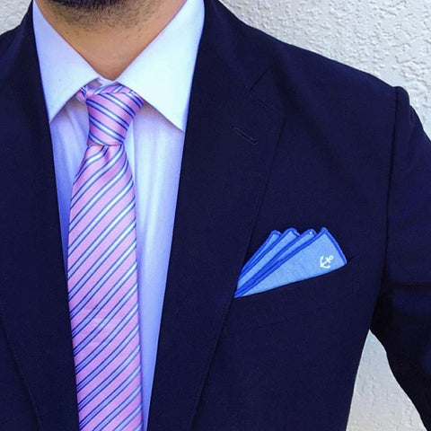Blue and Pink Skinny Striped Silk Tie