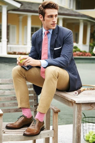 Pink Socks Blue Shirt