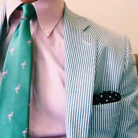 Blue Seersucker Suit with Pink Shirt & Green Tie
