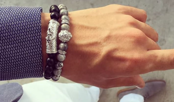How To Wear Men's Jewelry Stacked Beaded Bracelets