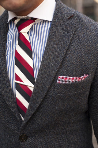 Striped Tie with Striped Shirt and Herringbone Tweed Blazer