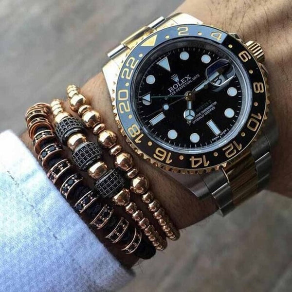 men's bracelets stacked with watches