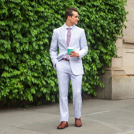 Men's Summer Wedding Seersucker Suit