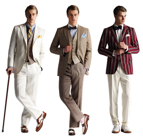 Two toned brogues, high peak waistcoats, high pant waistlines, exposed socks, ties and pocket squares