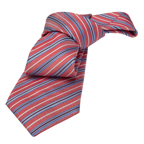 Red & Blue Striped Silk Tie