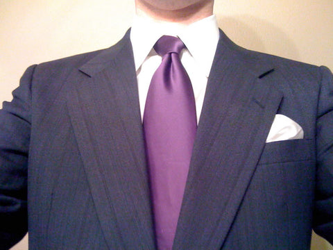 White Shirt with Purple Tie