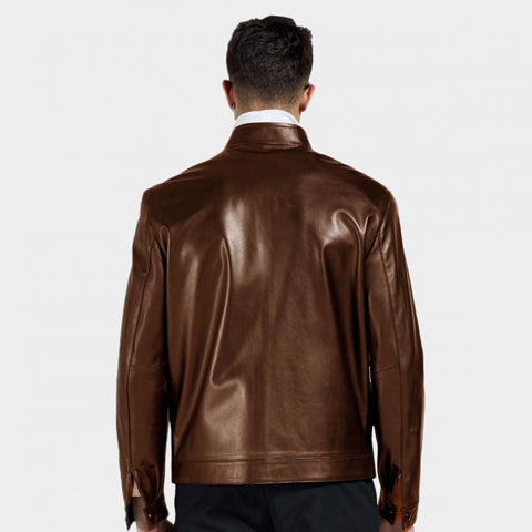 Top Stitching Leather Jacket