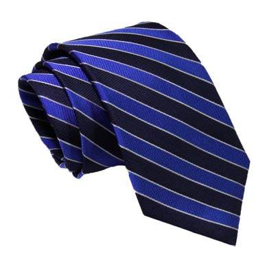 Navy and Blue University Striped Tie