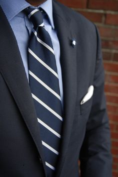 Blue Shirt with Striped Tie