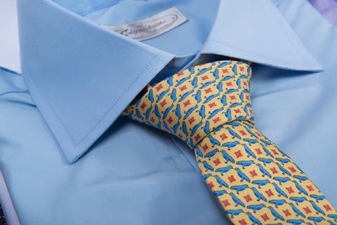 Yellow / Blue Printed Silk Tie