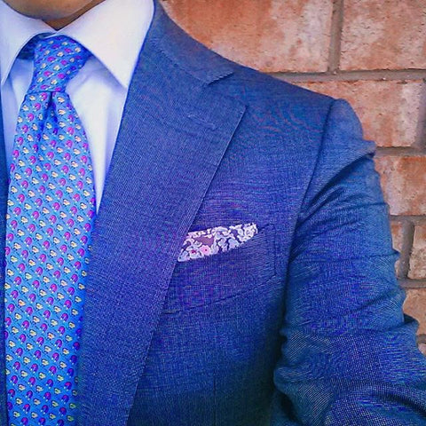 Blue Chick Printed Silk Tie w/ Pocket Square