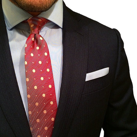 Burgundy Polka Silk Tie Striped Shirt