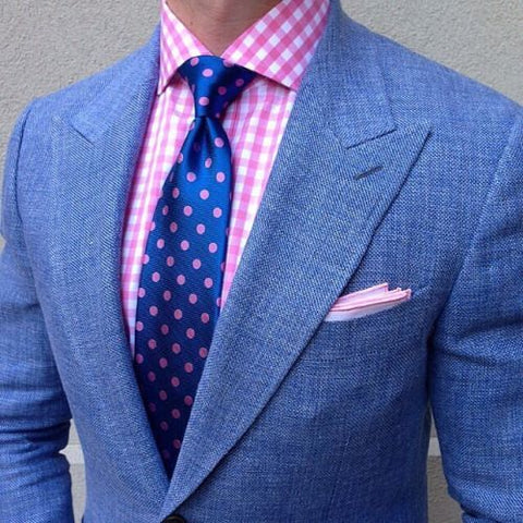 How to accessorize a summer suit the dark knot for Pink shirt tie combo