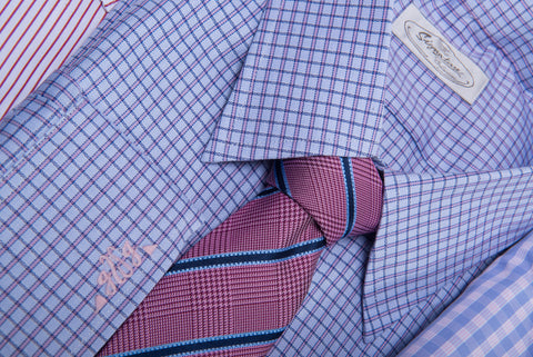 Small Checkered Shirt with Pink Striped Tie