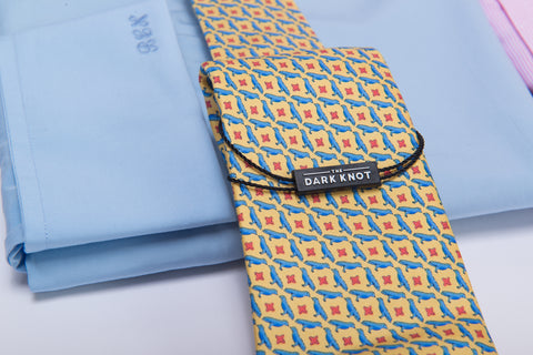 Yellow with blue birds printed silk tie