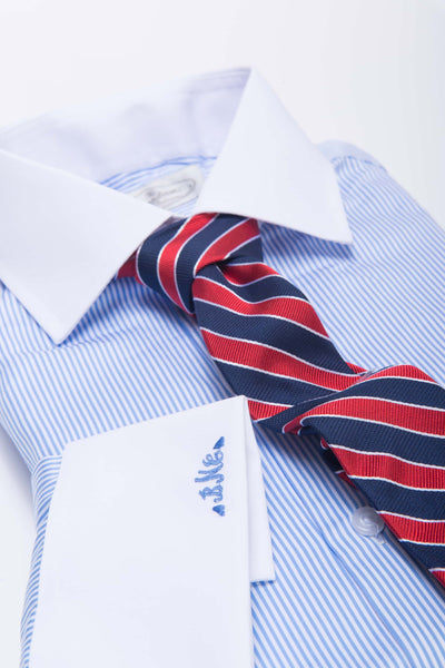 university striped red and navy tie