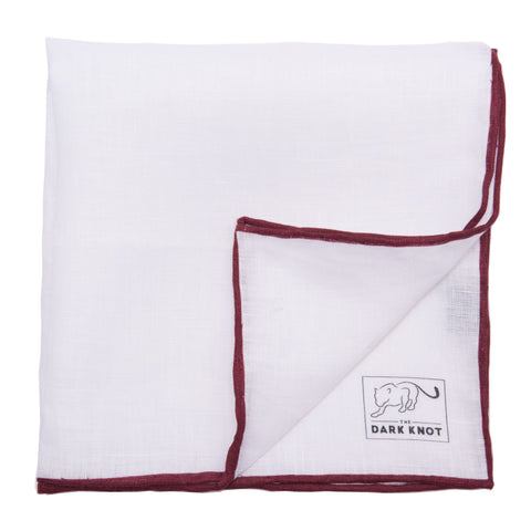 White Linen Pocket Square with Burgundy Hand Rolled Edges