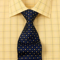 large checkered yellow windowpane shirt with pin dot tie