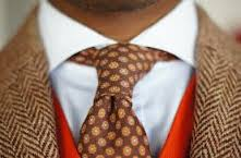 Brown abstract woolen tie
