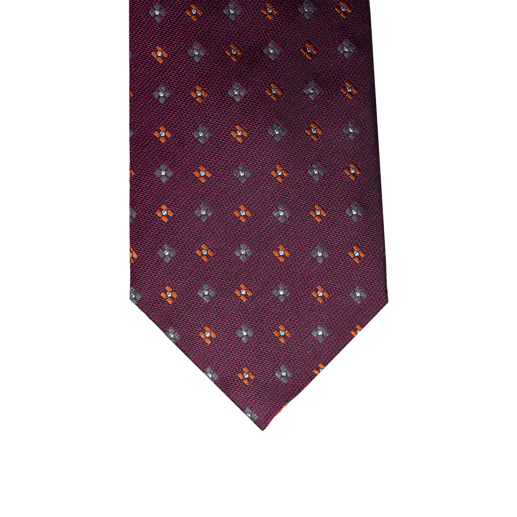 Burgundy Abstract Silk Woolen Necktie