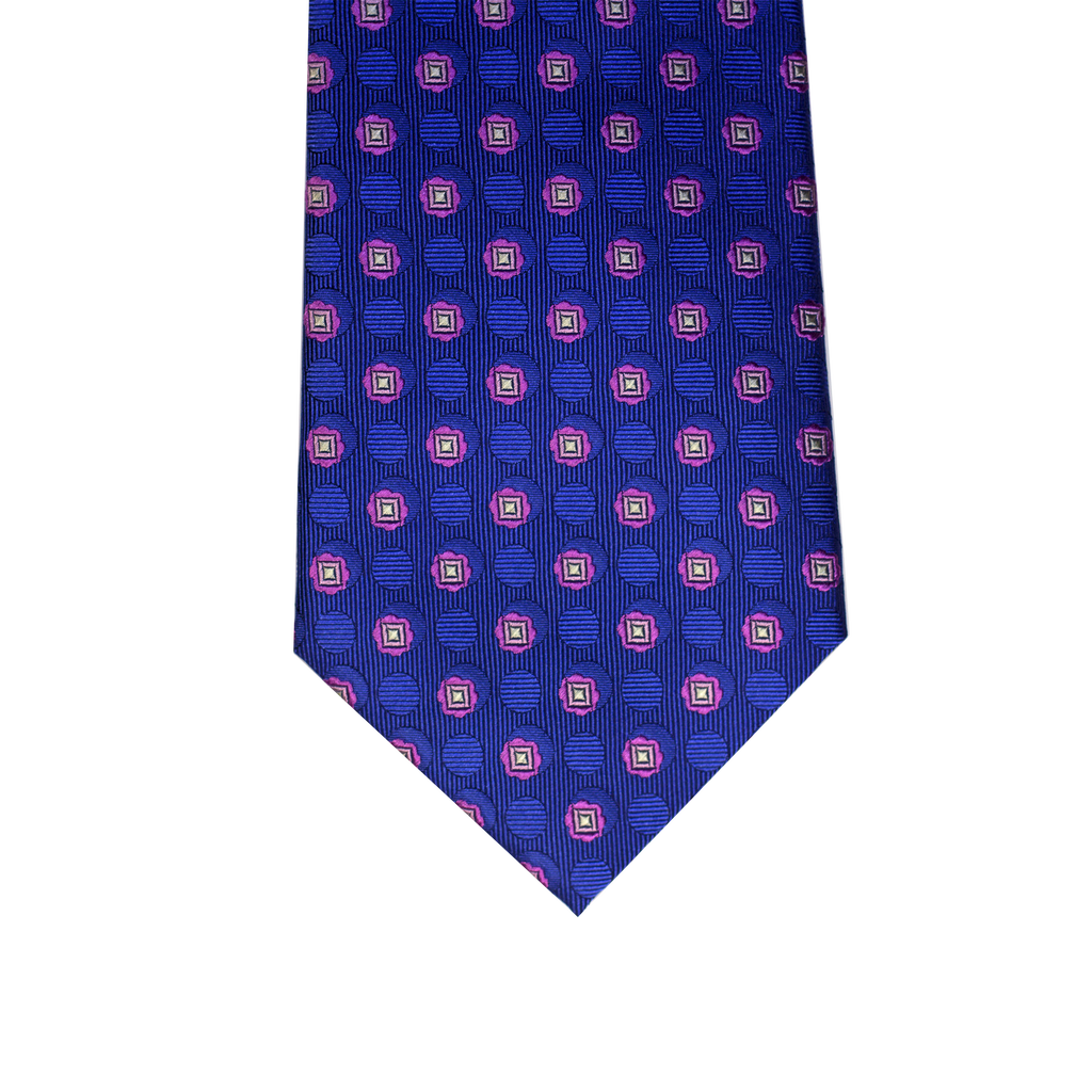 Blue and pink abstract silk tie