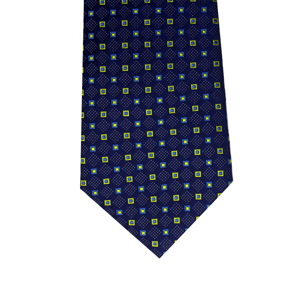 Blue and yellow abstract silk tie