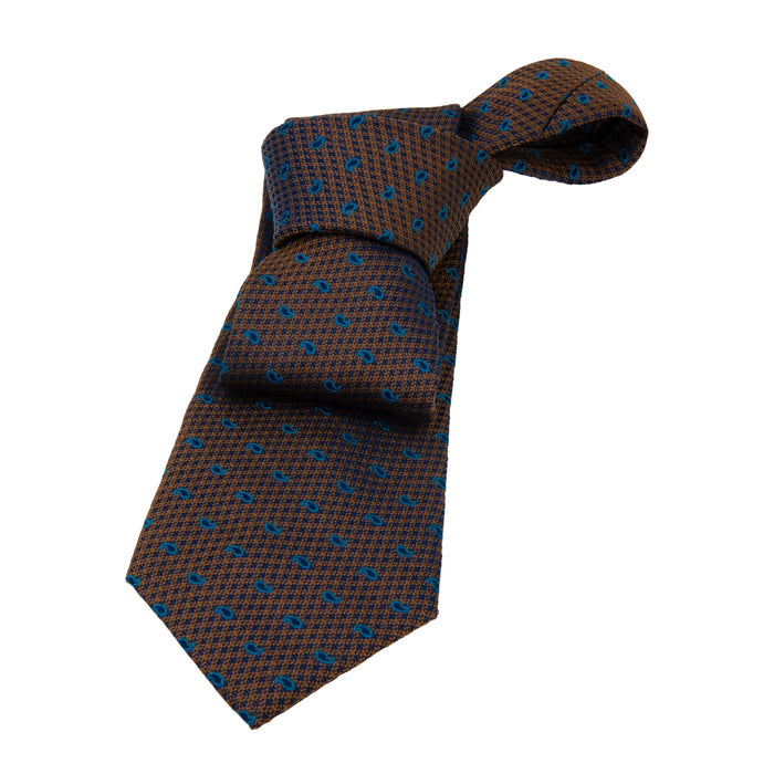Brownish Gold & Blue Paisley Silk Tie