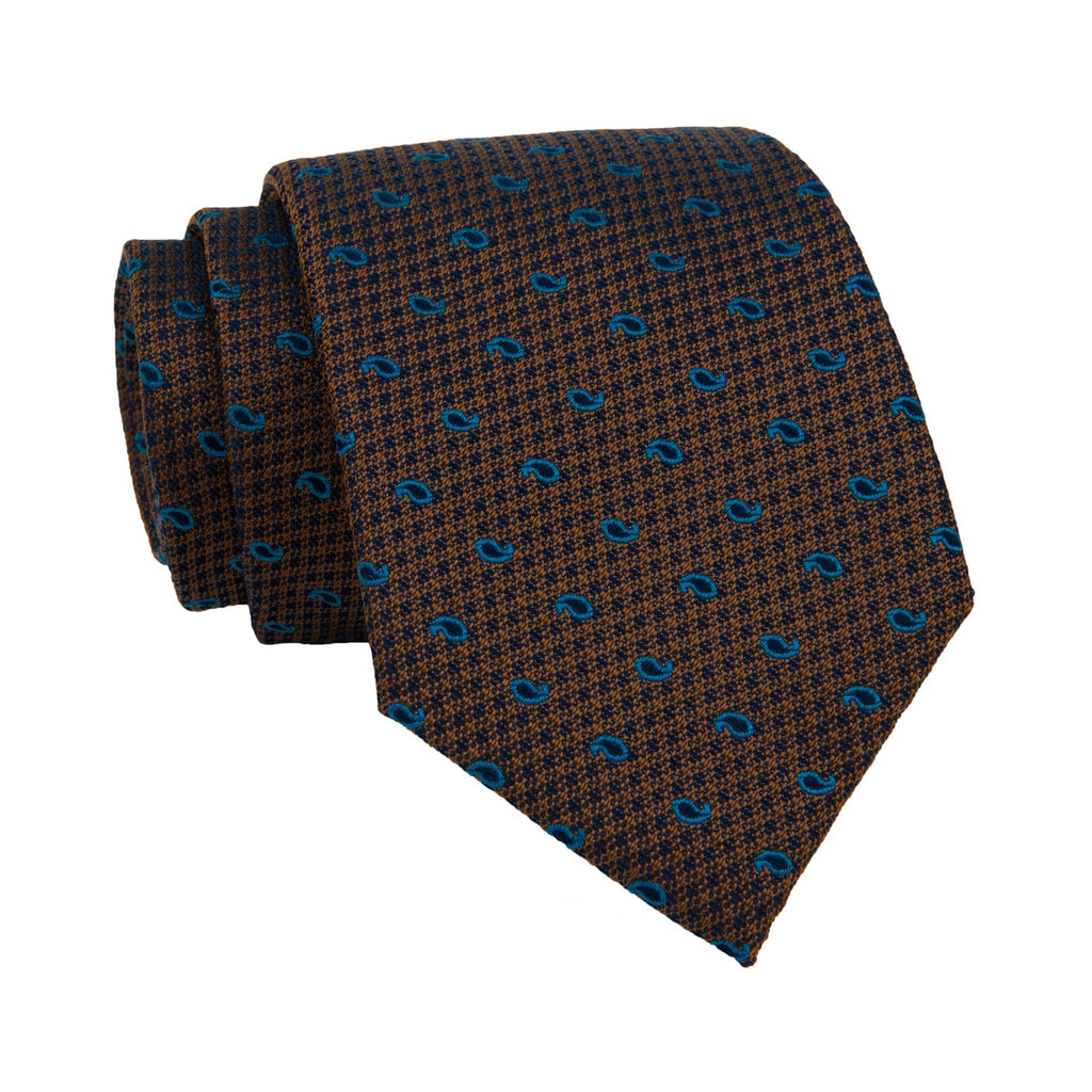 Brownish Gold & Paisley Blue Silk Tie