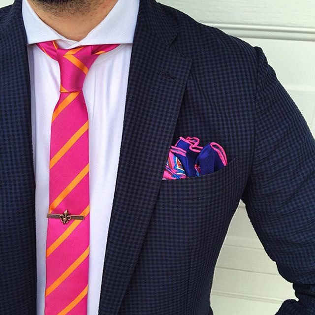 Pink Paisley Silk Pocket Square with Skinny Pink Striped Tie