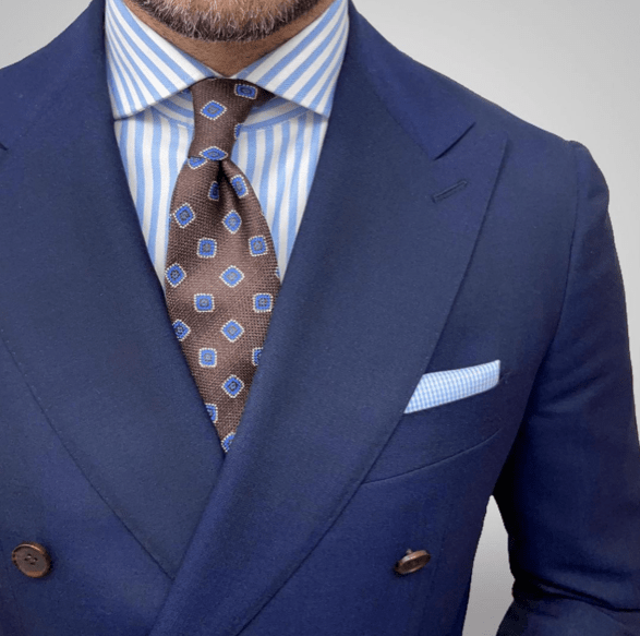 Brown & Blue Geometric Foulard Silk Tie