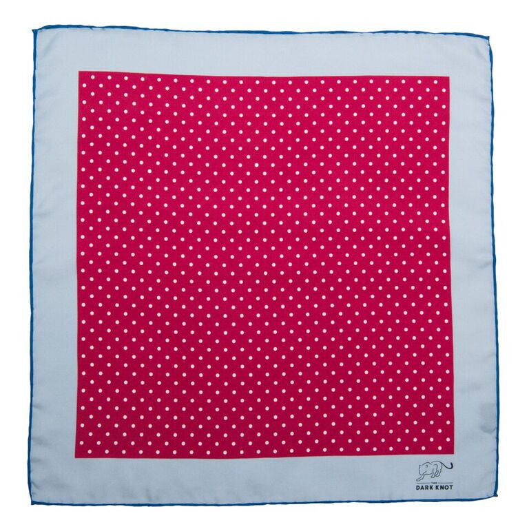 Burgundy Polka Dot Silk Pocket Square