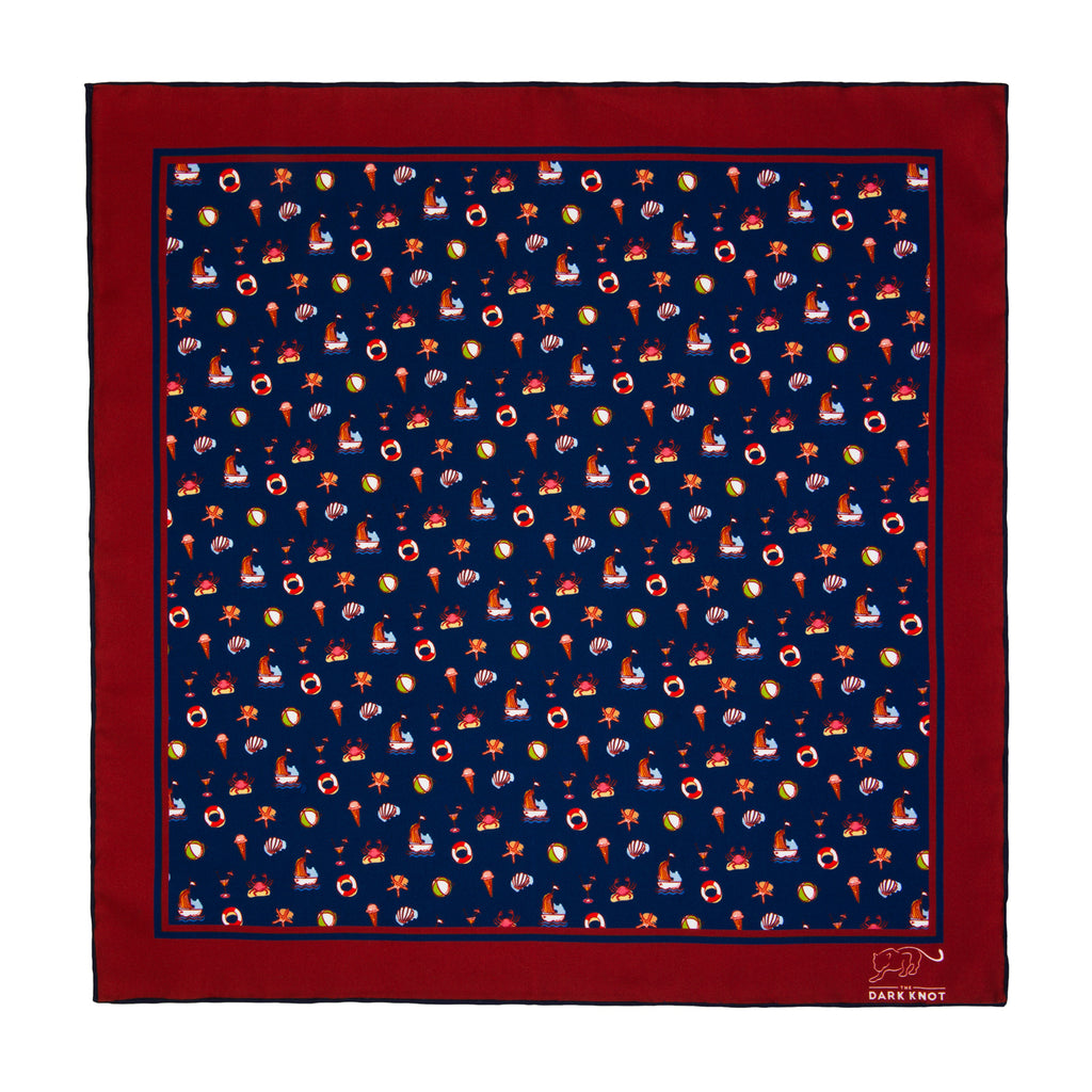 Navy Party Silk Pocket Square