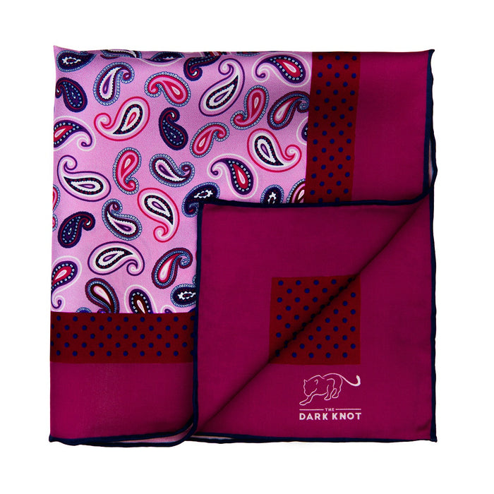 Light Pink Paisley Silk Pocket Square