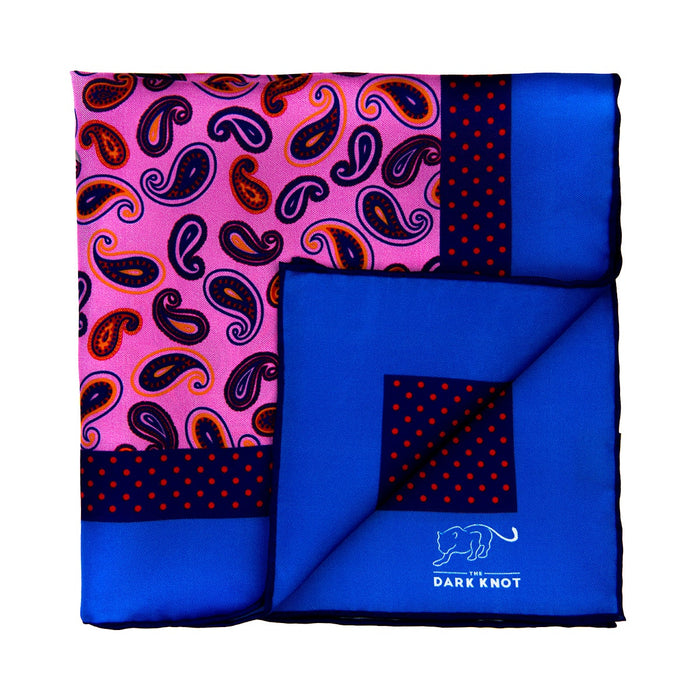 Pink, Blue & Orange Paisley Silk Pocket Square