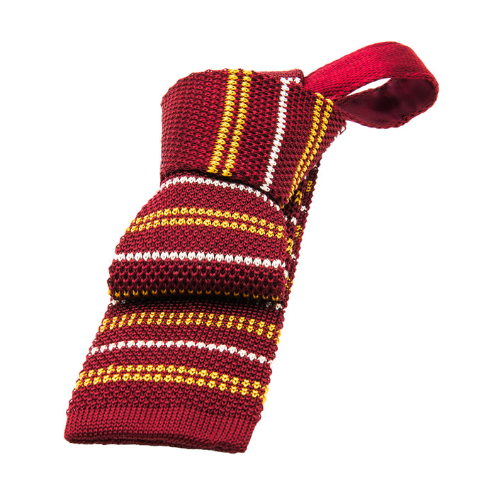 Burgundy Knitted Striped Tie