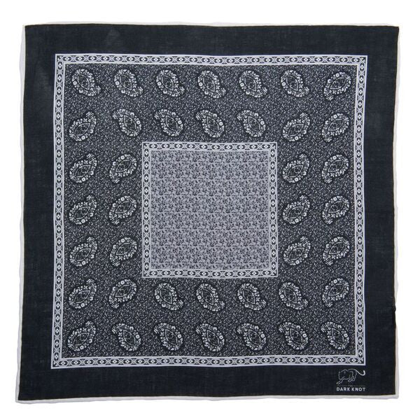 Linen Black and Grey Paisley Pocket Square