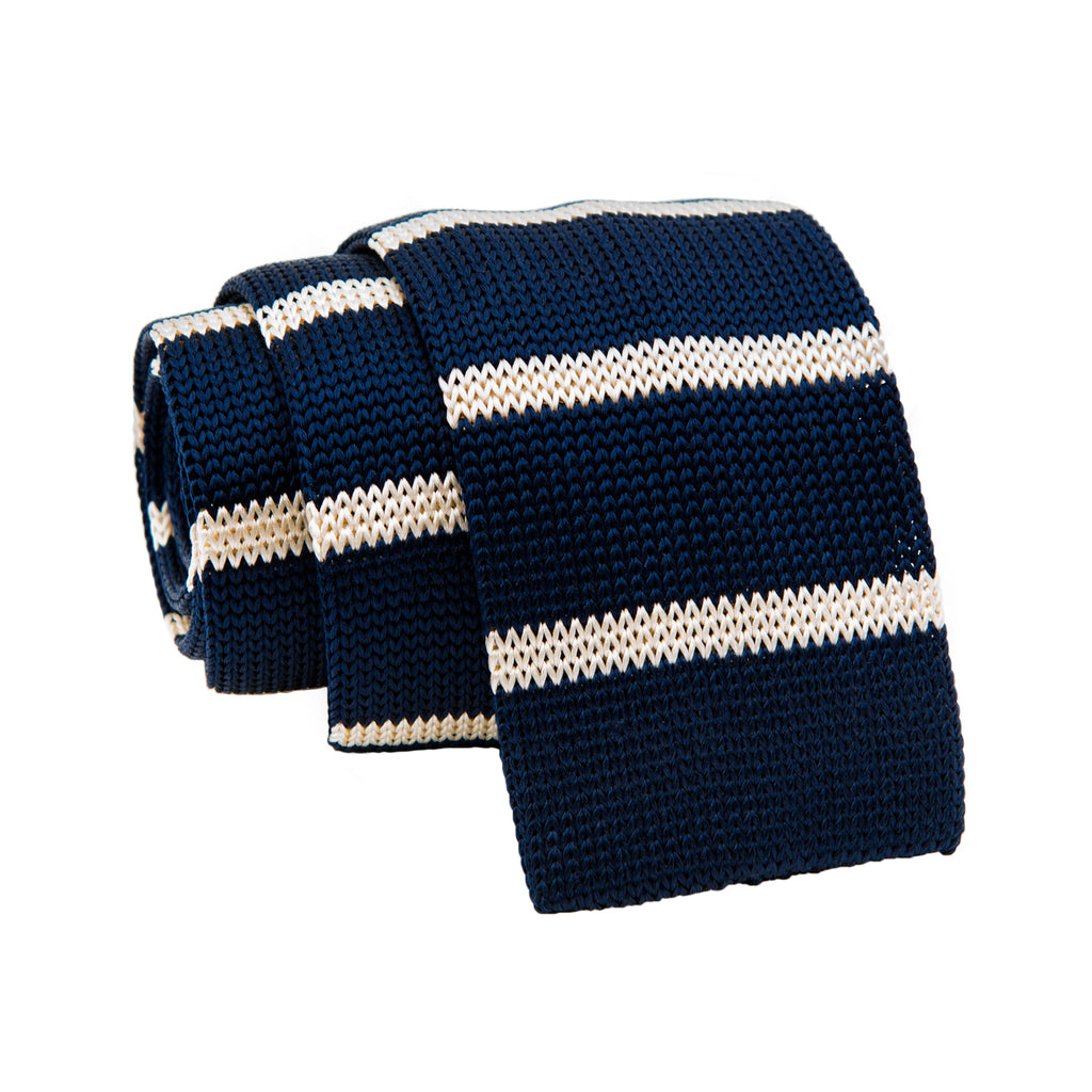 Navy & White Stripe Skinny Knit Tie