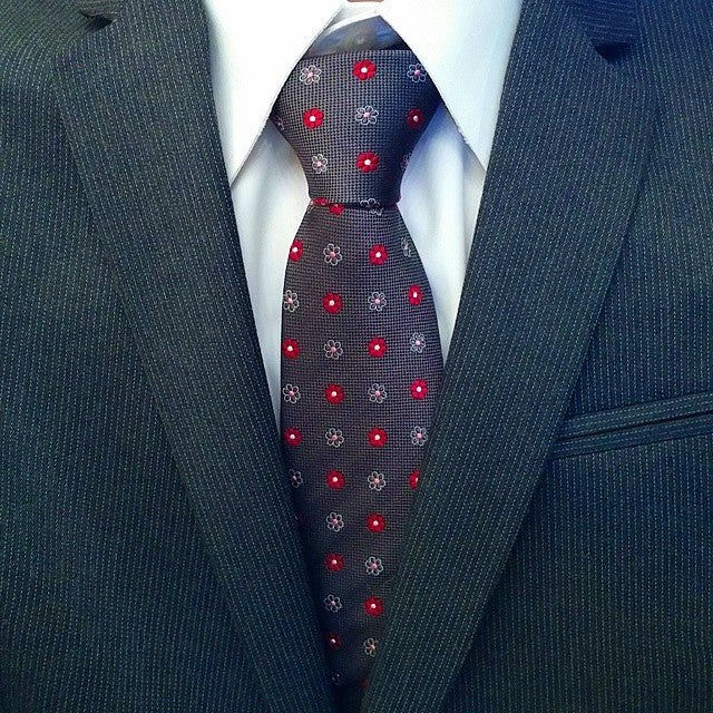 Berkshire Abstract Silk Tie, Grey / Red