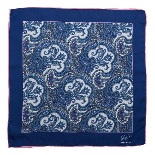 Blue & White Paisley Silk Pocket Square