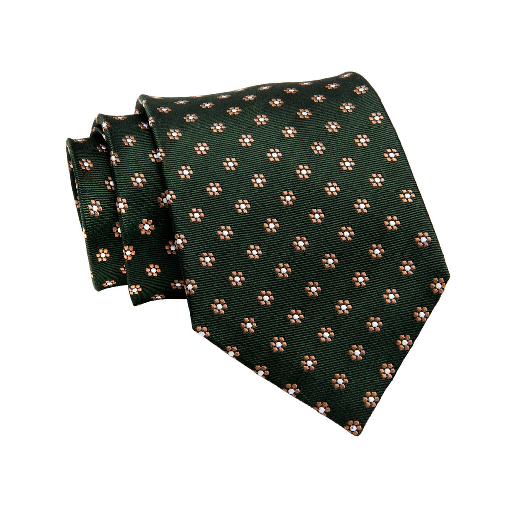 Olive Green & Brown Foulard Silk Tie